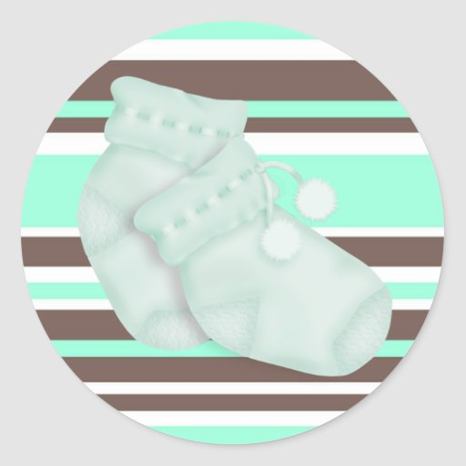 mint green brown baby shower sticker zazzle