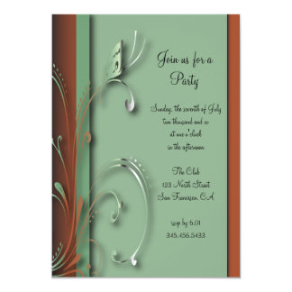 Mint Green & Brown Butterfly Party Template Card
