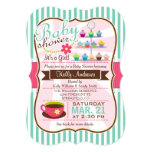 Mint Green, Brown & Pink Tea, Cupcake Baby Shower 5x7 Paper Invitation Card