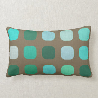 Mint Green Brown Retro Chic Round Squares Pattern Lumbar Pillow