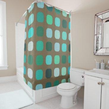 CozyLivin Mint Green Brown Retro Chic Round Squares Pattern Shower Curtain