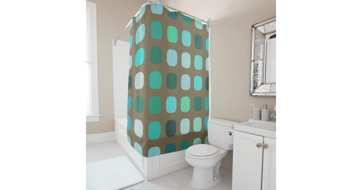 Mint Green Brown Retro Chic Round Squares Pattern Shower Curtain