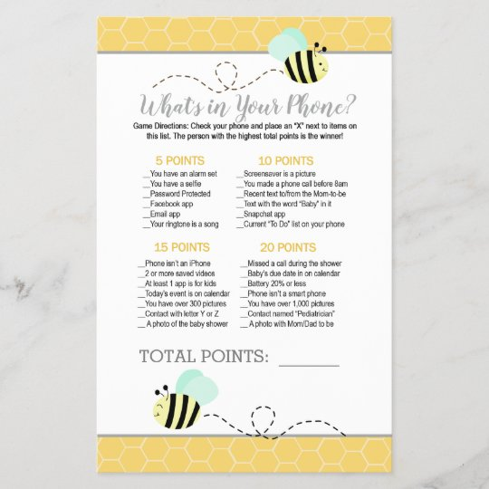 """24 Baby Shower /""""A to Z Baby/""""  Game Cards Mommy To BEE Bee Baby Shower"""