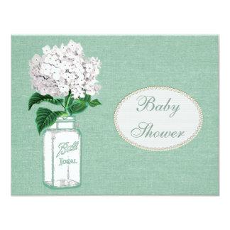 Mint Green Burlap, Jar & Hydrangea Baby Shower Card