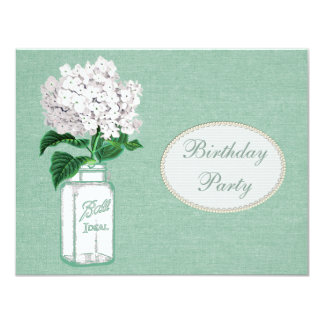 Mint Green Burlap, Jar & Hydrangea Birthday Party Card