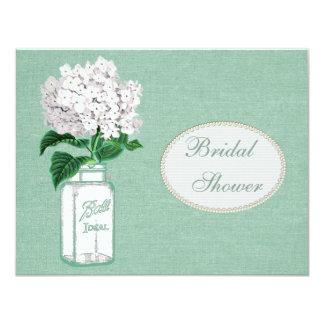 Mint Green Burlap, Jar & Hydrangea Bridal Shower 4.25x5.5 Paper Invitation Card