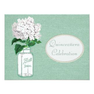 Mint Green Burlap, Jar & Hydrangea Quinceanera 4.25x5.5 Paper Invitation Card