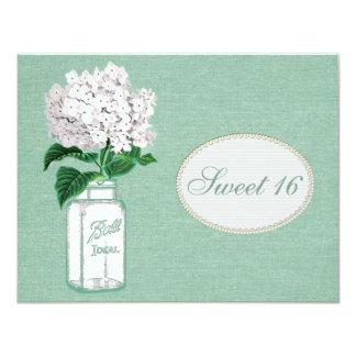 Mint Green Burlap, Jar & Hydrangea Sweet 16 Card