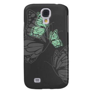 Mint Green Butterflies on Charcoal Simple Elegant Samsung Galaxy S4 Cover