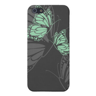Mint Green Butterflies on Charcoal Simple Elegant Covers For iPhone 5