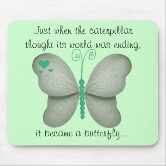 Mint Green Butterfly Mouse Pad