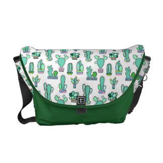 Mint Green Cactus & Succulent Plant Pattern Courier Bag