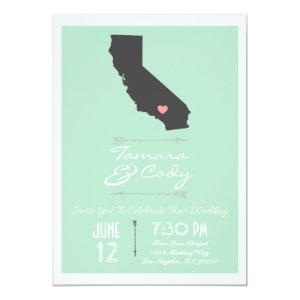 Mint Green California Wedding Invitation 5