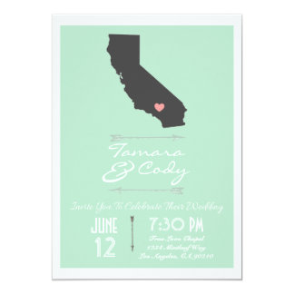 Mint Green California Wedding Invitation