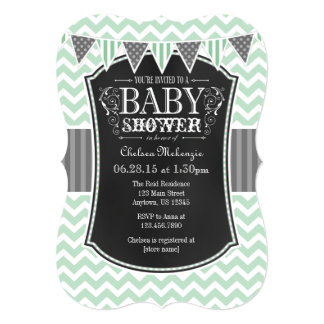 Mint Green Chalkboard Chevron Baby Shower Invite