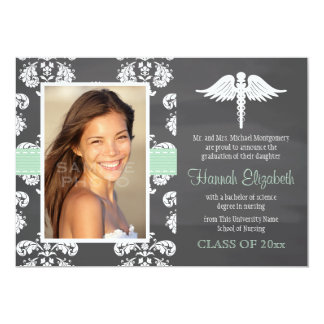 Mint Green Chalkboard Nursing School Graduation Card