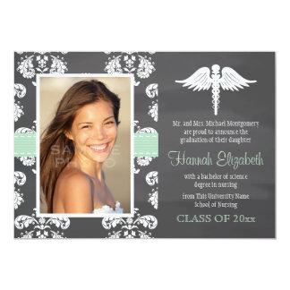 Mint Green Chalkboard Nursing School Graduation Personalized Invites