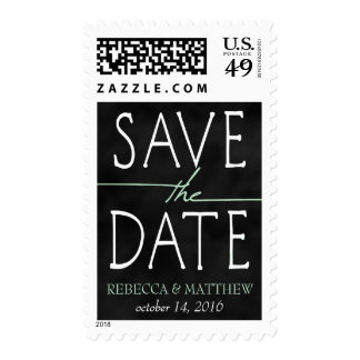 Mint Green Chalkboard Save the Date Postage Stamps