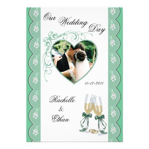 Mint Green Champagne Glass Wedding Invitation 5 X 7 Invitation Card