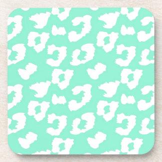 Mint Green Cheetah Leopard Print Coasters