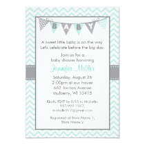 Mint Green Chevron Baby Shower Invitations