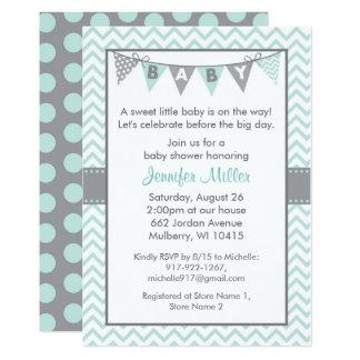 Mint Green Chevron Baby Shower Invitations