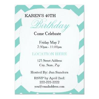 Mint Green Chevron Birthday Invitation