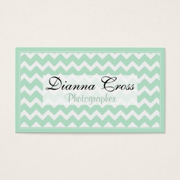 Professional Business Mint Green Chevron Border Business Cards