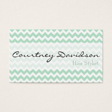 Professional Business Mint Green Chevron Business Cards