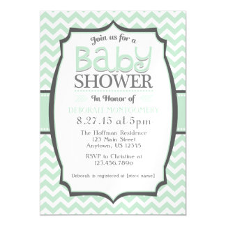 mint green chevron magnetic baby shower invite