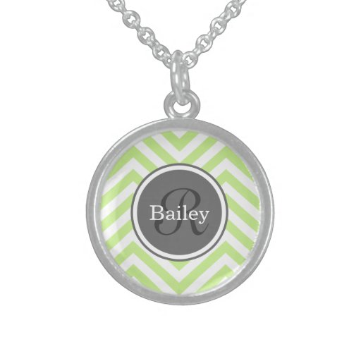 Mint Green Chevron Monogram Custom Necklace