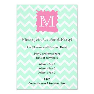 Mint Green Chevron Monogram Design with Pink Splat Card