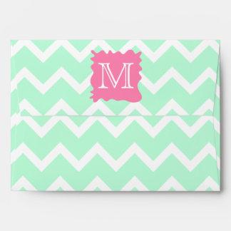 Mint Green Chevron Monogram Design with Pink Splat Envelope