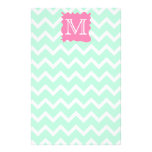 Mint Green Chevron Monogram Design with Pink Splat Personalized Flyer