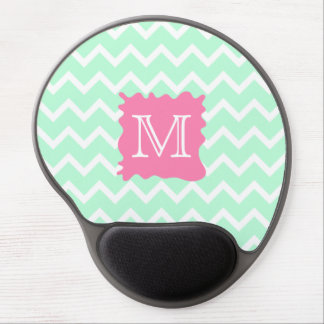 Mint Green Chevron Monogram Design with Pink Splat Gel Mouse Pad