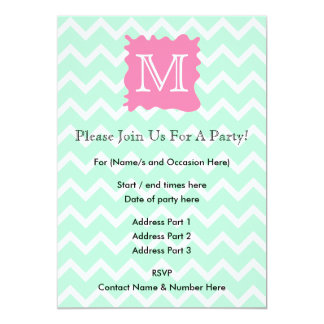 Mint Green Chevron Monogram Design with Pink Splat 5x7 Paper Invitation Card