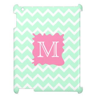 Mint Green Chevron Monogram Design with Pink Splat iPad Cases