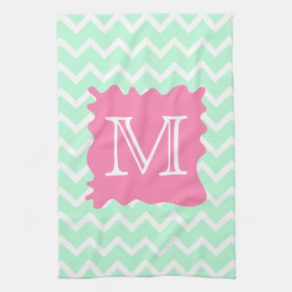 Mint Green Chevron Monogram Design with Pink Splat Kitchen Towel