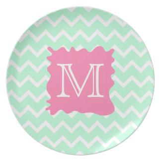 Mint Green Chevron Monogram Design with Pink Splat Dinner Plates