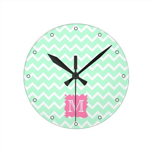 Mint Green Chevron Monogram Design with Pink Splat Round Clock