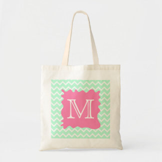 Mint Green Chevron Monogram Design with Pink Splat Tote Bag