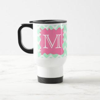 Mint Green Chevron Monogram Design with Pink Splat Travel Mug