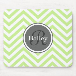 Mint Green Chevron Monogram Mouse Pad