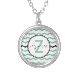 Mint Green Chevron Monogram Silver Plated Necklace
