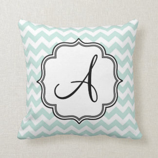 Mint Green Chevron Monogram Throw Pillow
