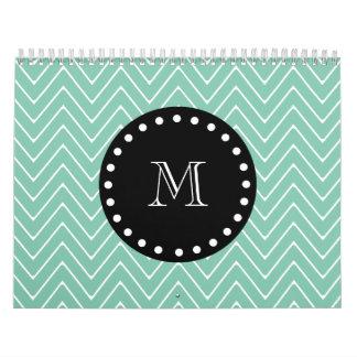 Mint Green Chevron Pattern Black Monogram Wall Calendars