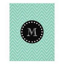 Mint Green Chevron Pattern | Black Monogram Flyer