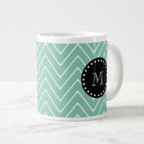 Mint Green Chevron Pattern | Black Monogram Giant Coffee Mug