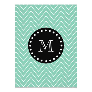 Mint Green Chevron Pattern | Black Monogram 6.5x8.75 Paper Invitation Card