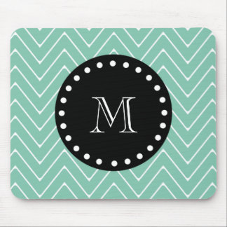 Mint Green Chevron Pattern | Black Monogram Mouse Pad